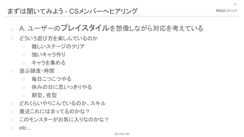 (C) mixi, Inc. ○ A. ユーザーのプレイスタイルを想像しながら対応を考えている...