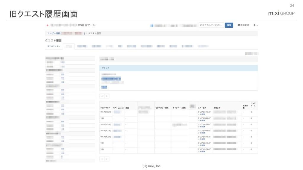 (C) mixi, Inc. 24 旧クエスト履歴画面