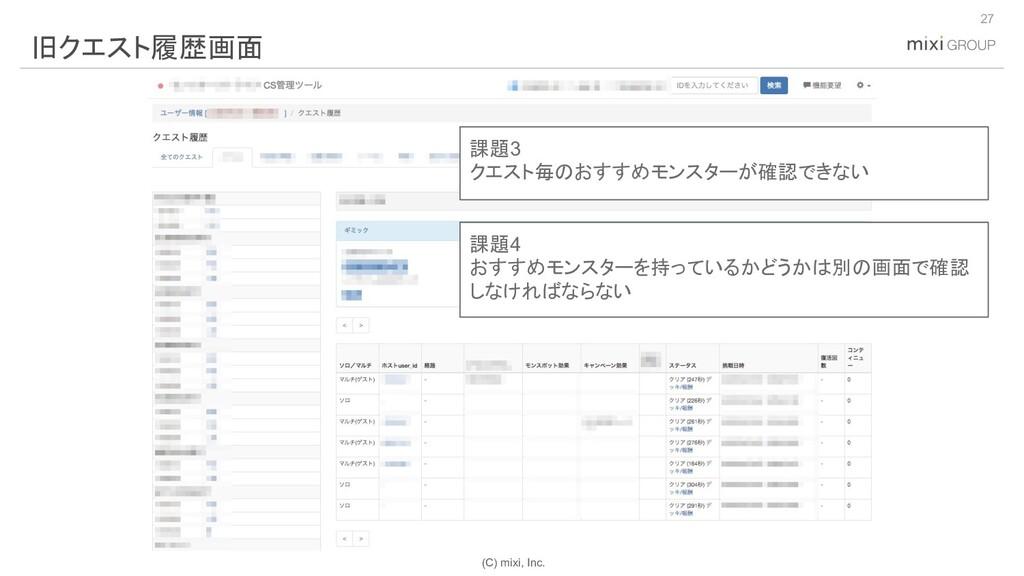 (C) mixi, Inc. 27 旧クエスト履歴画面 課題3 クエスト毎のおすすめモンスター...