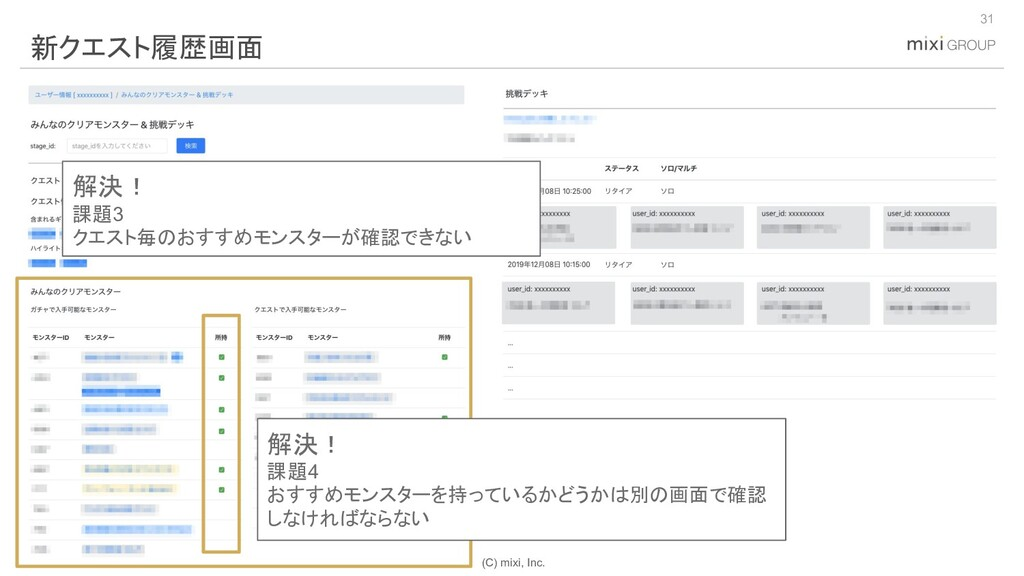 (C) mixi, Inc. 31 新クエスト履歴画面 解決! 課題3 クエスト毎のおすすめモ...