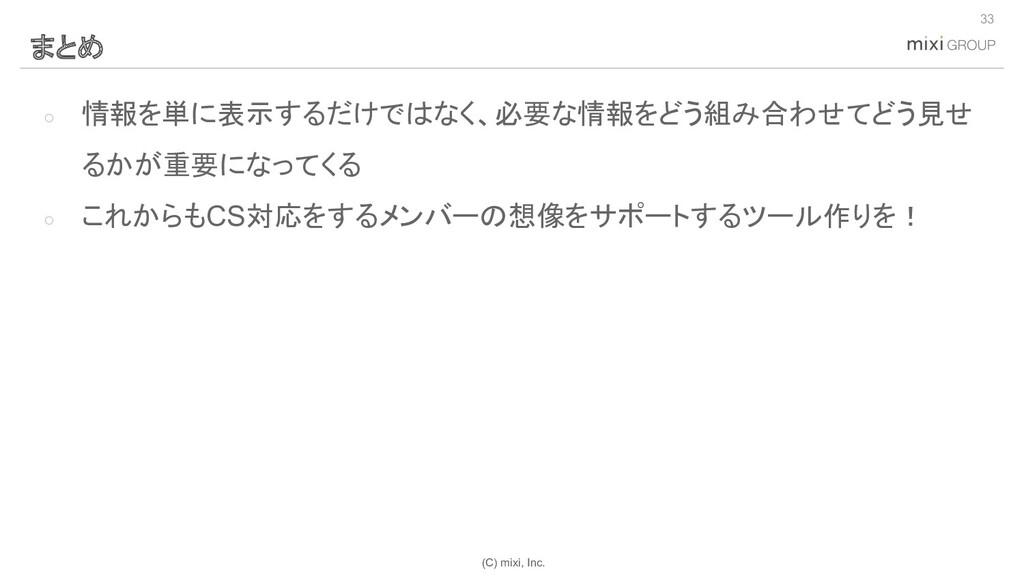 (C) mixi, Inc. ○ 情報を単に表示するだけではなく、必要な情報をどう組み合わせて...