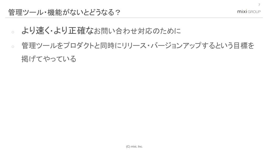 (C) mixi, Inc. ○ より速く・より正確なお問い合わせ対応のために ○ 管理ツール...