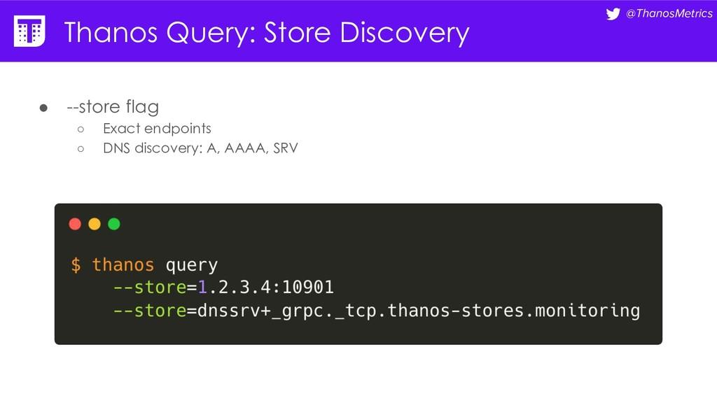 @ThanosMetrics Thanos Query: Store Discovery ● ...