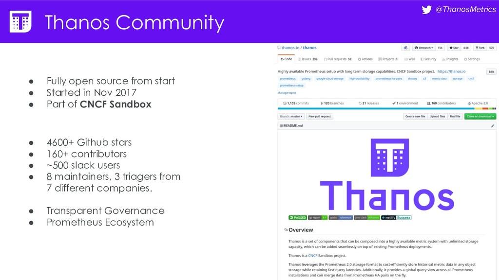 @ThanosMetrics Thanos Community ● Fully open so...