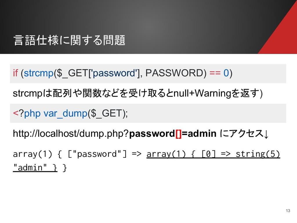 言語仕様に関する問題 13 if (strcmp($_GET['password'], PAS...
