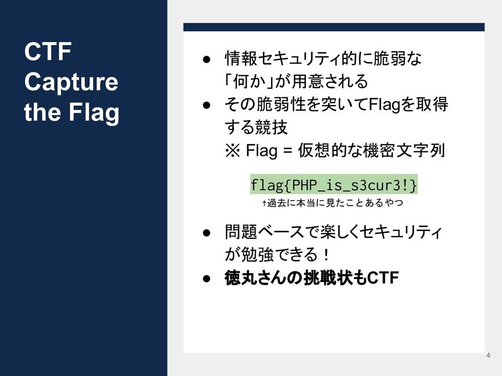 CTF Capture the Flag ● 情報セキュリティ的に脆弱な 「何か」が用意される...