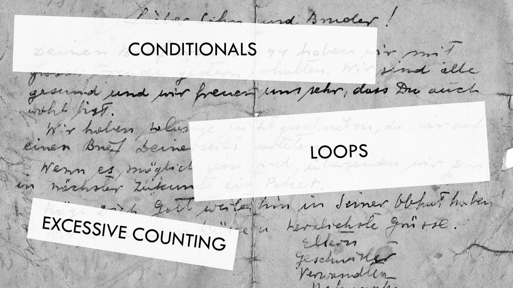 CONDITIONALS LOOPS EXCESSIVE COUNTING