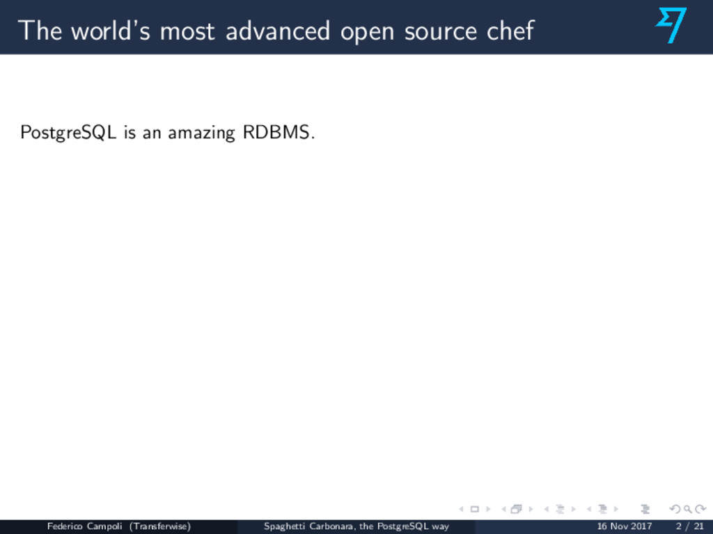 The world's most advanced open source chef Post...
