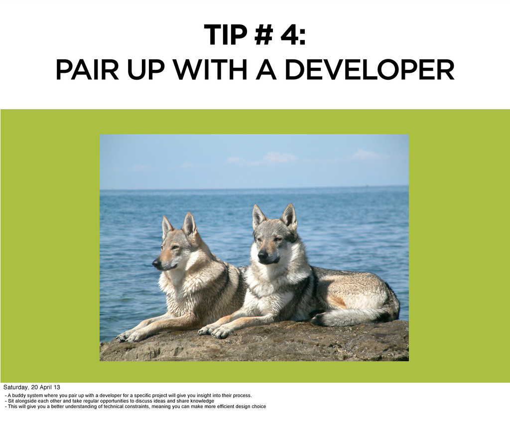 TIP # 4: PAIR UP WITH A DEVELOPER - A buddy sys...