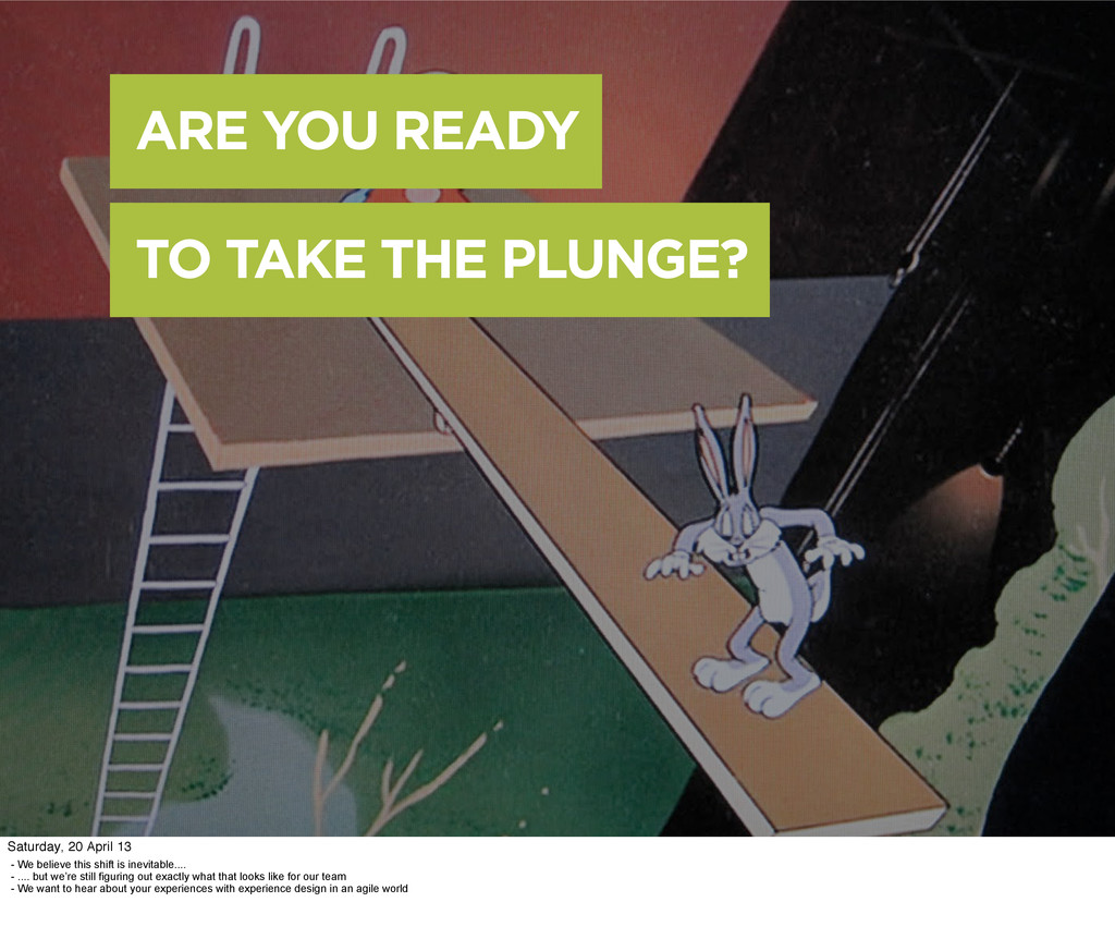 ARE YOU READY TO TAKE THE PLUNGE? - We believe ...