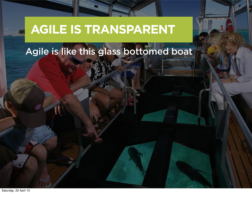 AGILE IS TRANSPARENT Agile is like this glass b...