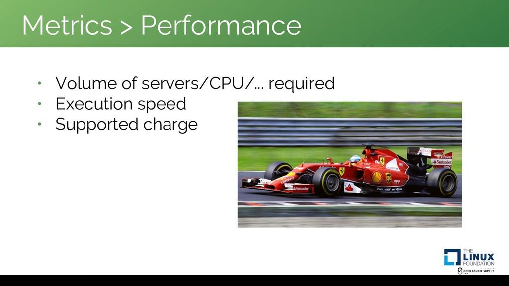 Metrics > Performance • Volume of servers/CPU/....