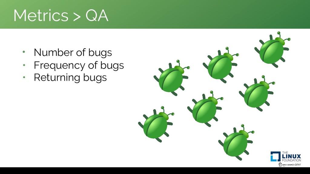 Metrics > QA • Number of bugs • Frequency of bu...