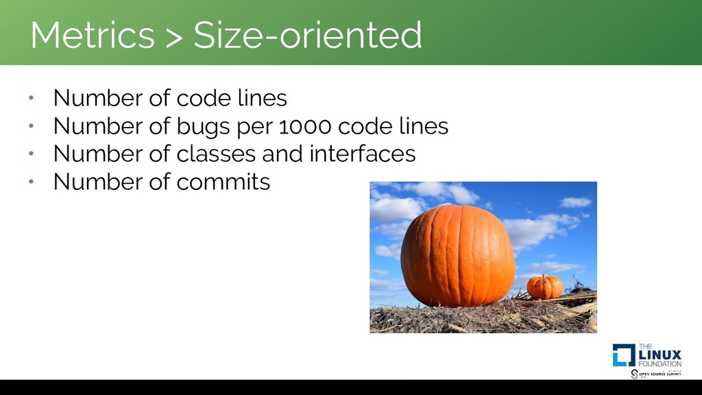 Metrics > Size-oriented • Number of code lines ...