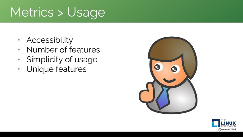 Metrics > Usage • Accessibility • Number of fea...