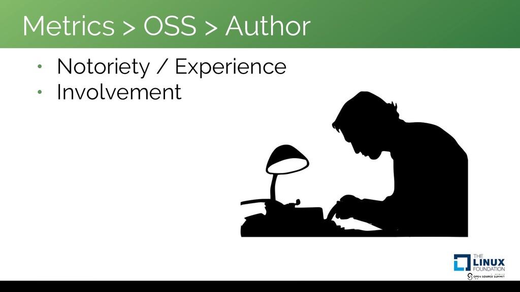 Metrics > OSS > Author • Notoriety / Experience...