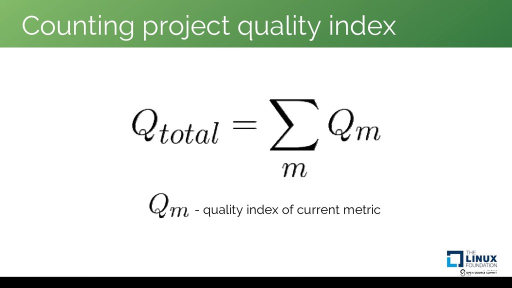 Counting project quality index - quality index ...