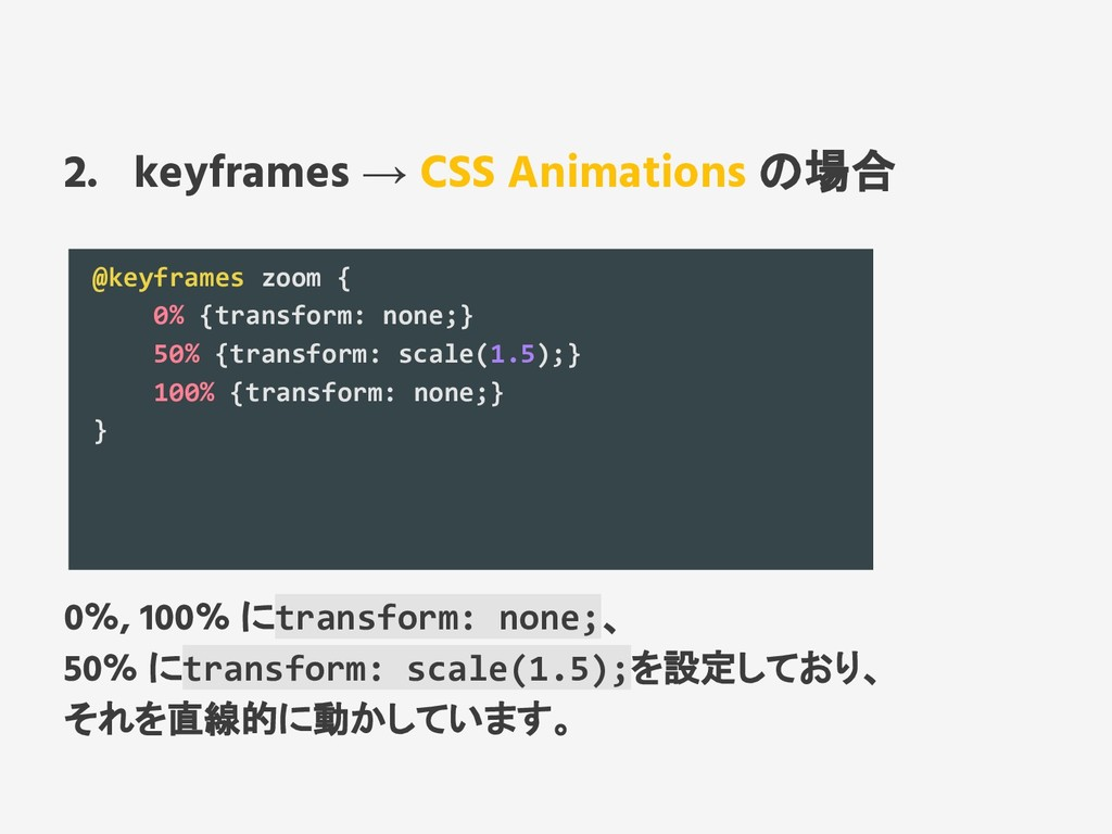 2. keyframes → CSS Animations の場合 @keyframes zo...