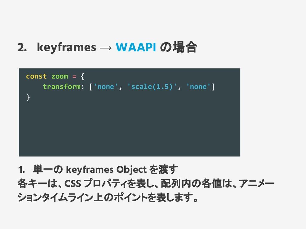 2. keyframes → WAAPI の場合 const zoom = { transfo...
