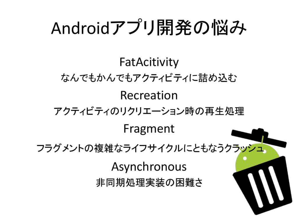 Androidアプリ開発の悩み FatAcitivity なんでもかんでもアクティビティに詰め...