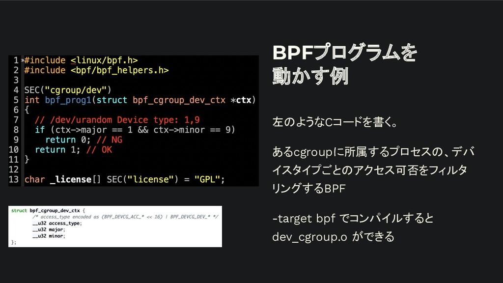 BPFプログラムを 動かす例 左のようなCコードを書く。 あるcgroupに所属するプロセスの...