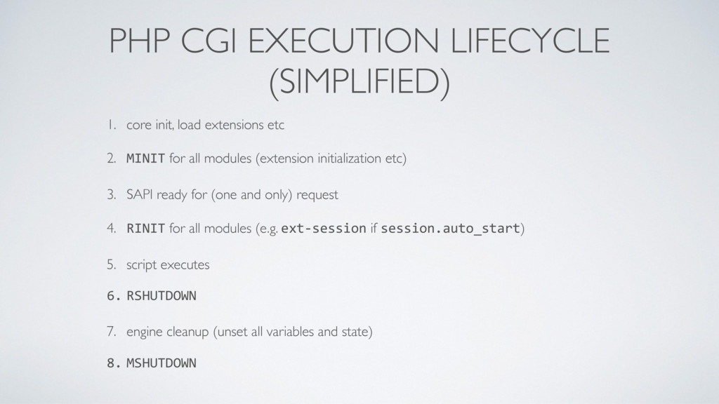 PHP CGI EXECUTION LIFECYCLE (SIMPLIFIED) 1. co...