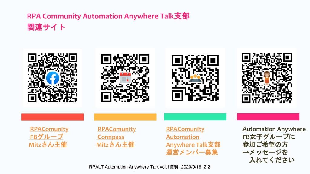 RPAComunity FBグループ Mitzさん主催 RPAComunity Automat...