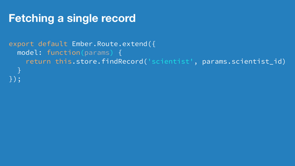Fetching a single record export default Ember.R...