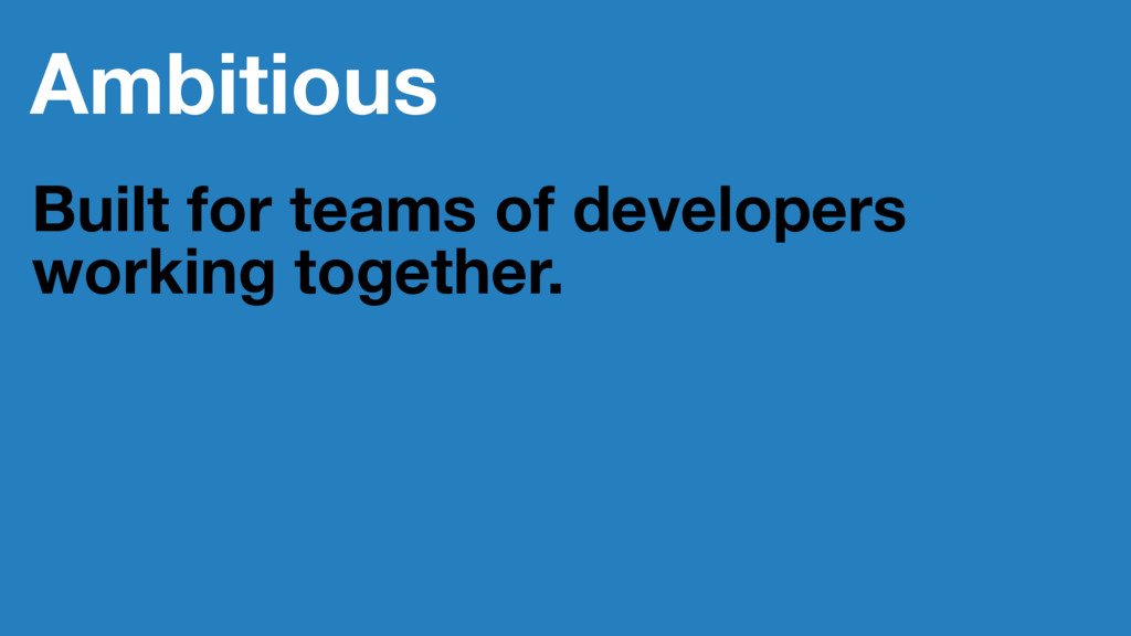Ambitious Built for teams of developers working...