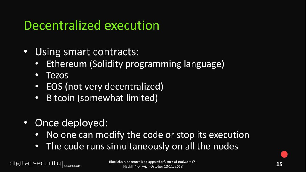 • Using smart contracts: • Ethereum (Solidity p...