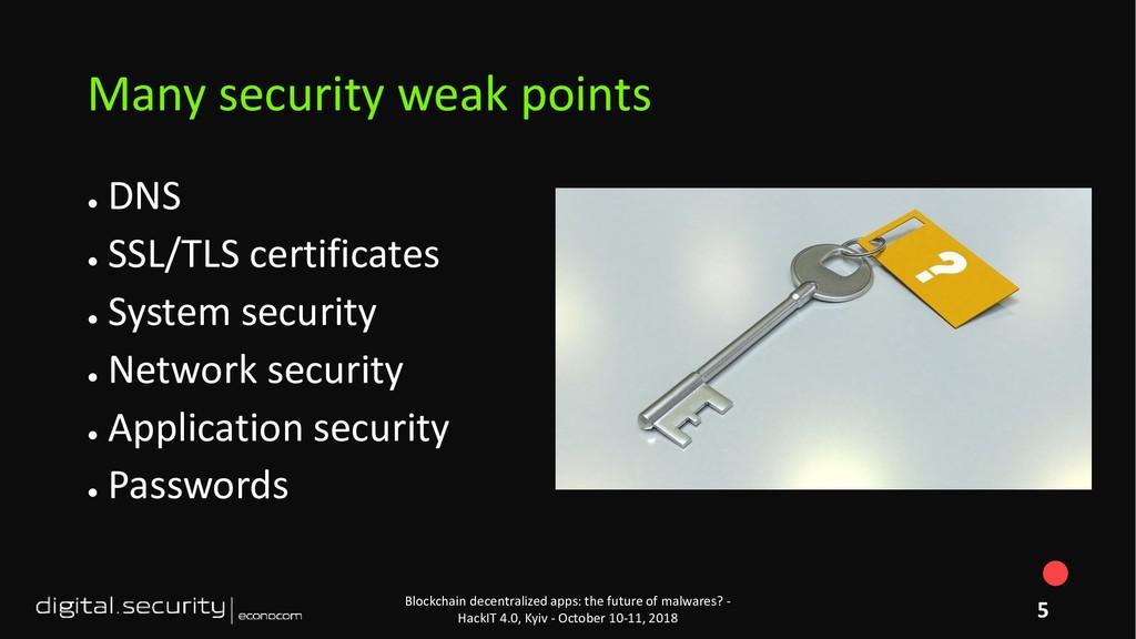● DNS ● SSL/TLS certificates ● System security ...