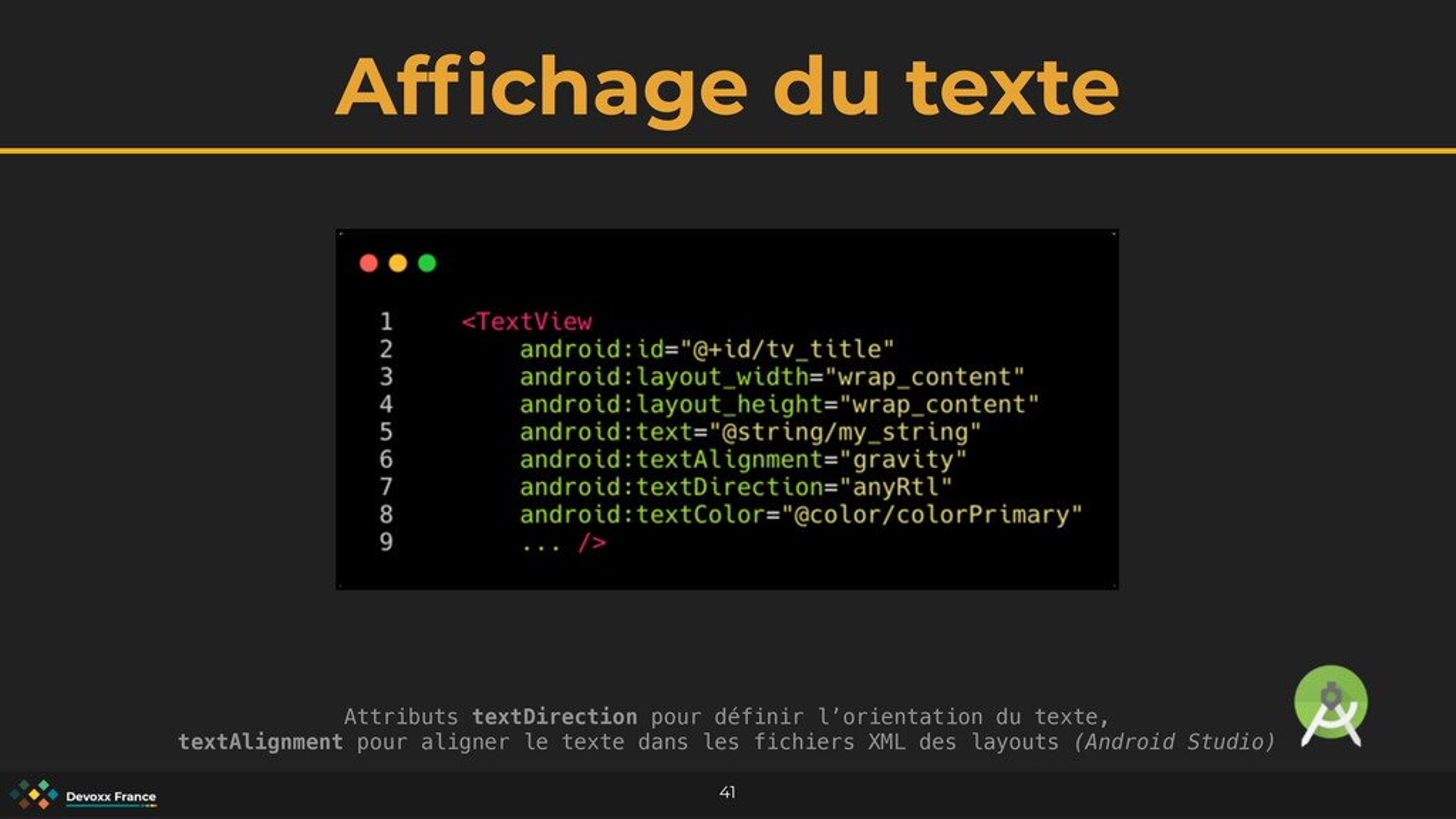 Af fi chage du texte 41 Attributs textDirection...