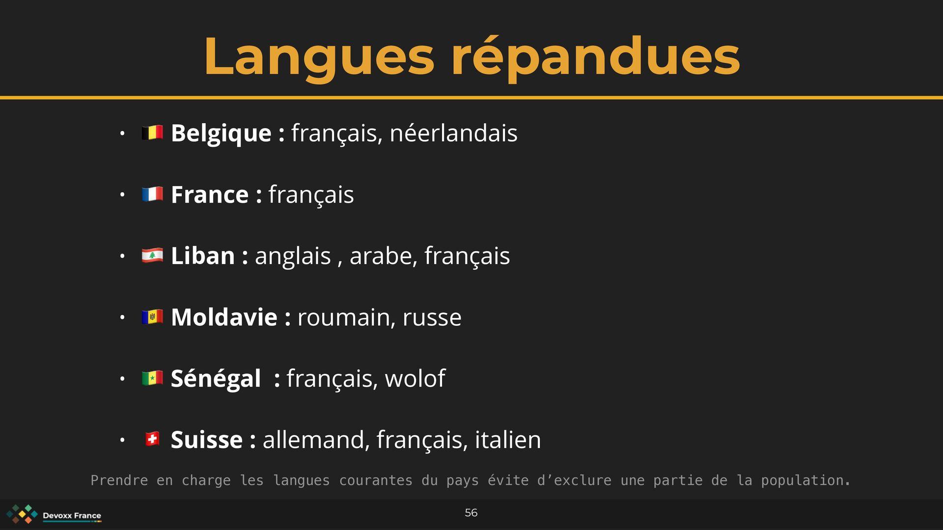 Langues répandues 56 • 🇧🇪 Belgique : français, ...