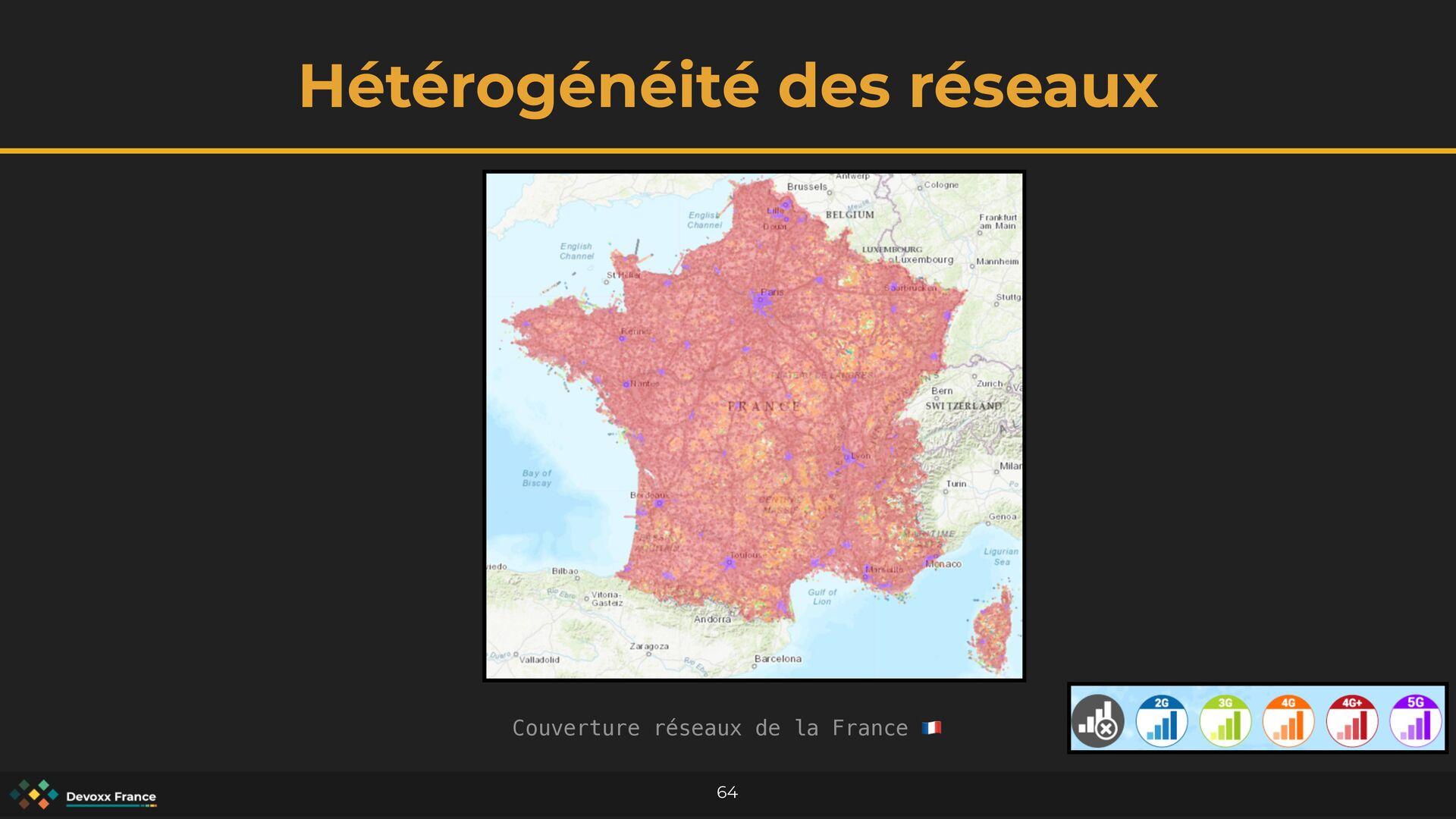 Hétérogénéité des réseaux 64 Couverture réseaux...