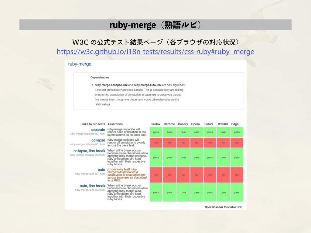 ruby-merge(熟語ルビ) W3C の公式テスト結果ページ(各ブラウザの対応状況) ht...