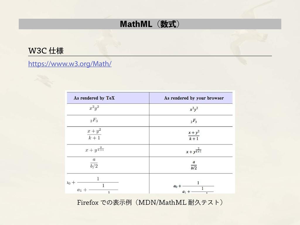 MathML(数式) W3C 仕様 https://www.w3.org/Math/ Fire...