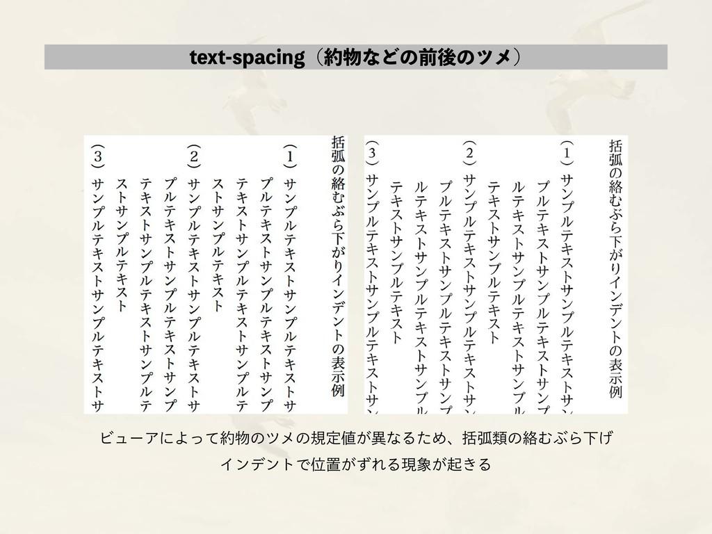 text-spacing(約物などの前後のツメ) ビューアによって約物のツメの規定値が異なるた...