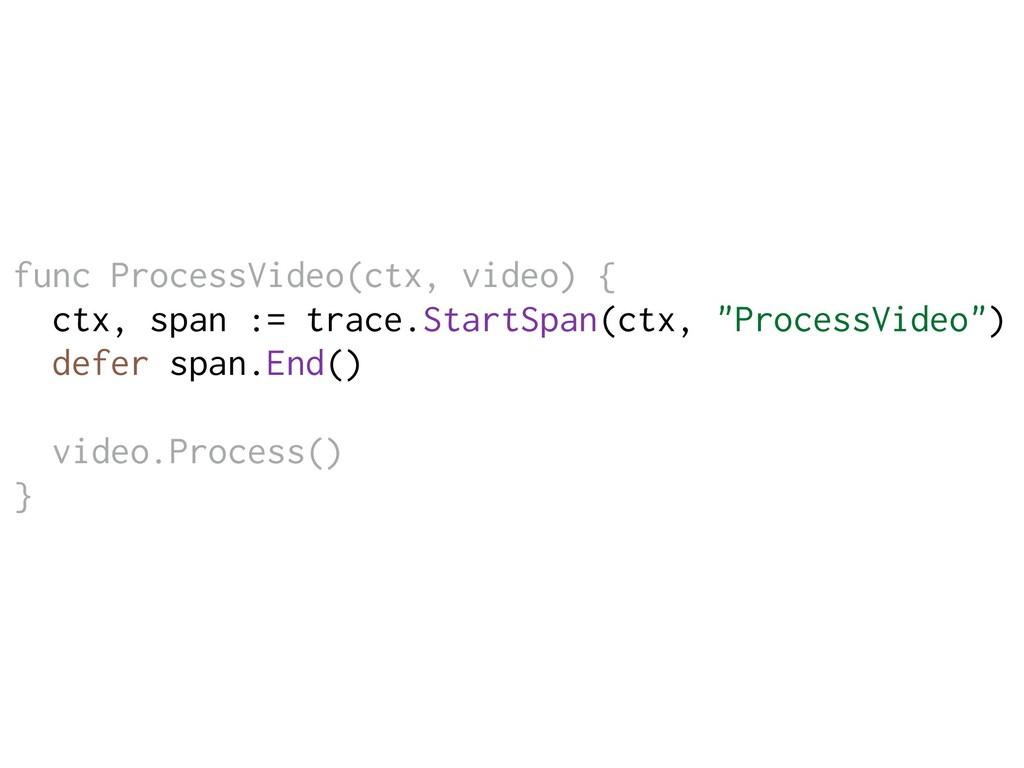 func ProcessVideo(ctx, video) { ctx, span := tr...