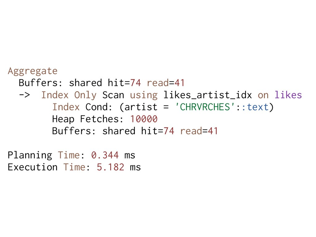 Aggregate Buffers: shared hit=74 read=41 -> Ind...