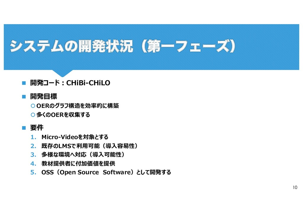 10 n 開発コード︓CHiBi-CHiLO n 開発⽬標 š OERのグラフ構造を効率的に構...