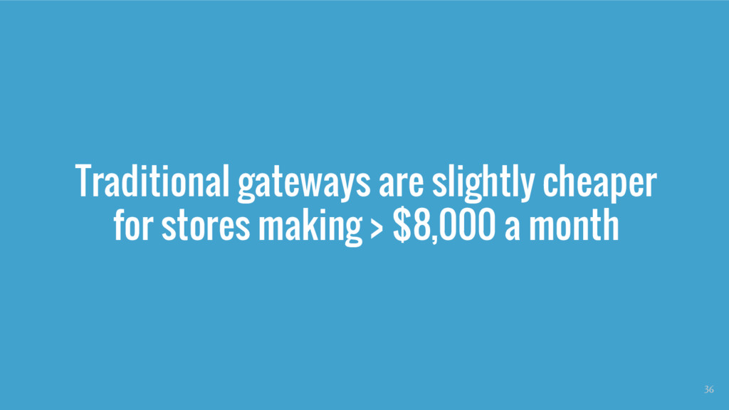 Traditional gateways are slightly cheaper for s...