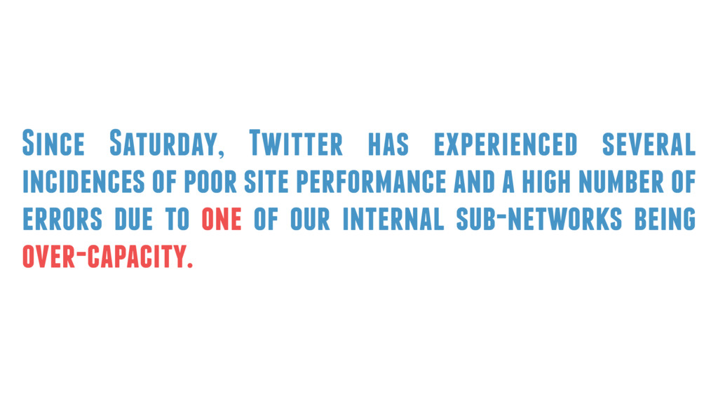 Since Saturday, Twitter has experienced several...
