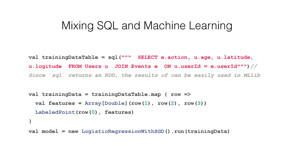 Mixing SQL and Machine Learning val trainingDat...