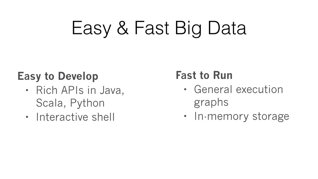 Easy & Fast Big Data Easy to Develop • Rich API...