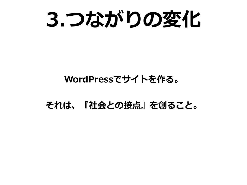 3.つながりの変化 WordPressでサイトを作る。 それは、『社会との接点』を創ること。