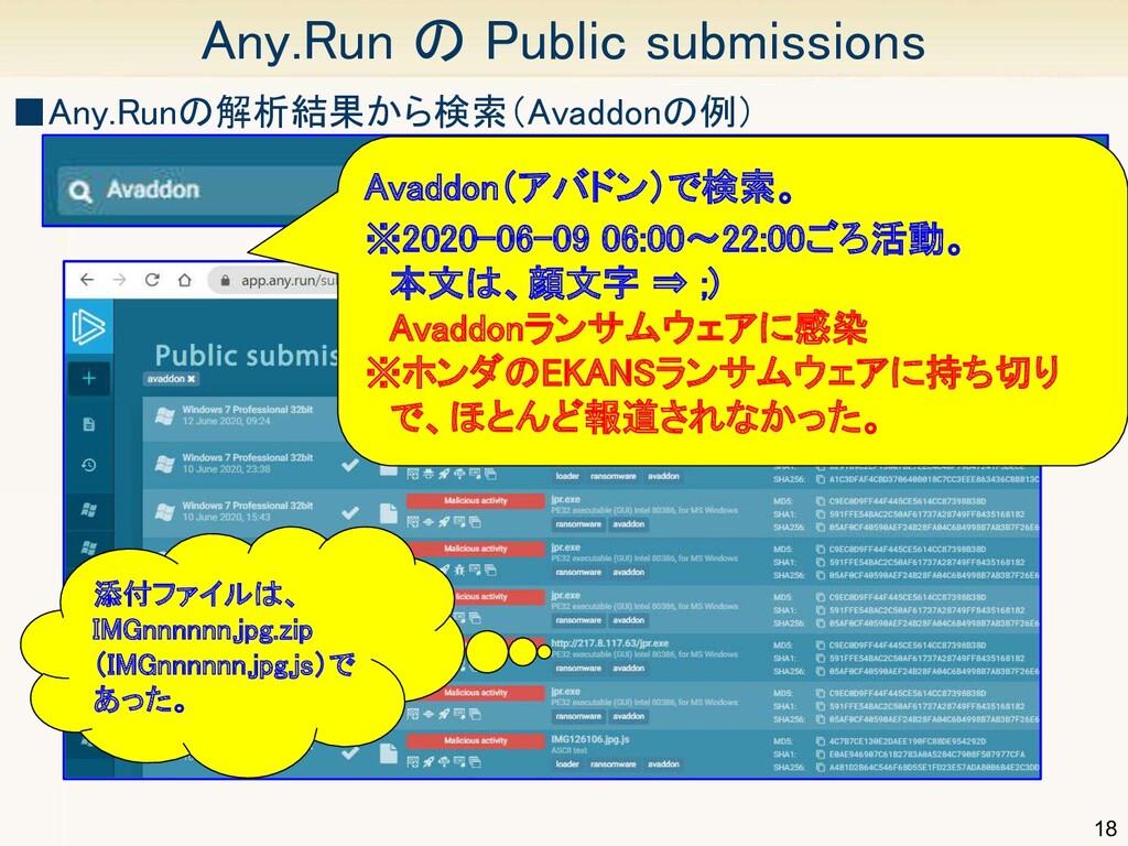 18 Any.Run の Public submissions Avaddon(アバドン)で...