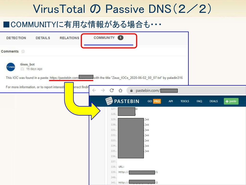 21 VirusTotal の Passive DNS(2/2) ■COMMUNITYに有用...