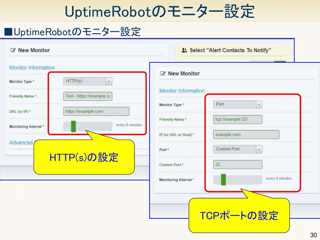 30 UptimeRobotのモニター設定 ■UptimeRobotのモニター設定 HTT...