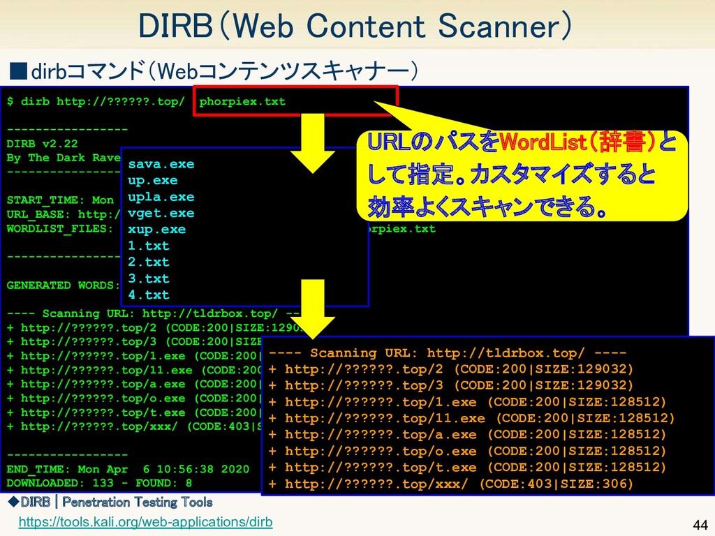 44 DIRB(Web Content Scanner) $ dirb http://???...