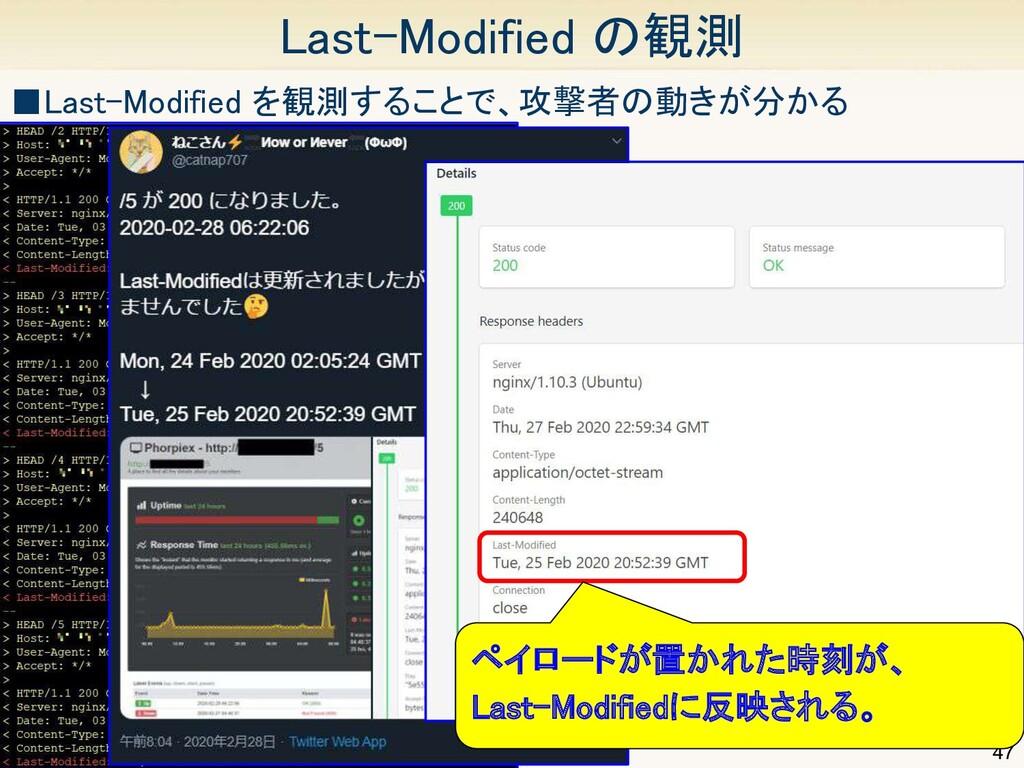 47 Last-Modified の観測 ■Last-Modified を観測することで、攻...